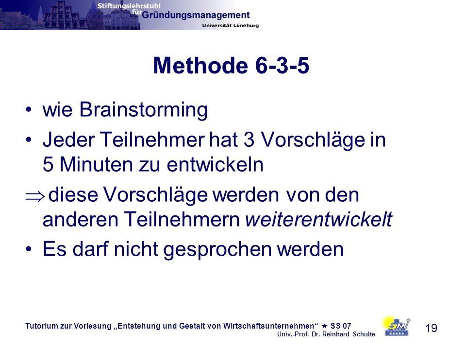 Tutorium zur Vorlesung Entstehung und Gestalt von Wirtschaftsunternehmen SS 07 Univ.-Prof. Dr. Reinhard Schulte 19 Methode 6-3-5 wie Brainstorming Jed