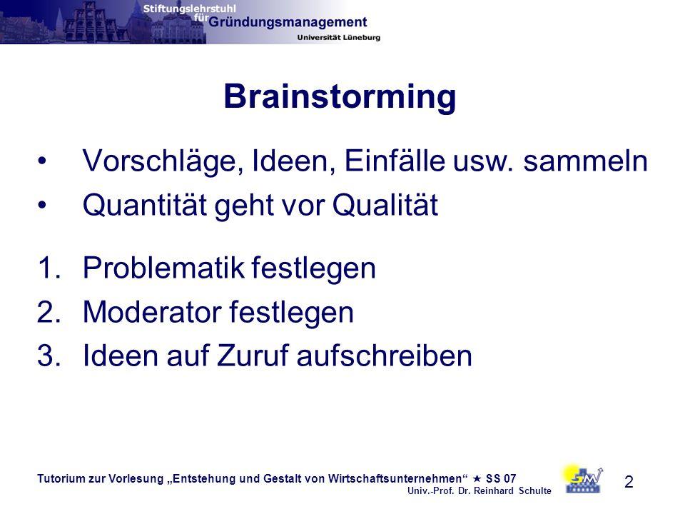 Tutorium zur Vorlesung Entstehung und Gestalt von Wirtschaftsunternehmen SS 07 Univ.-Prof. Dr. Reinhard Schulte 2 Brainstorming Vorschläge, Ideen, Ein