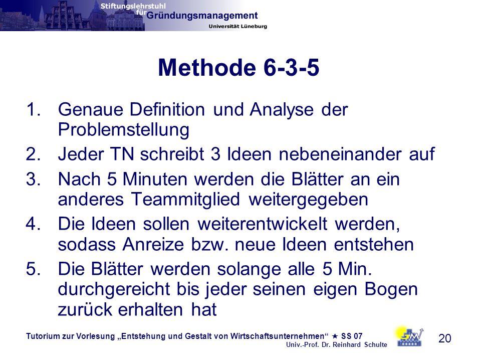 Tutorium zur Vorlesung Entstehung und Gestalt von Wirtschaftsunternehmen SS 07 Univ.-Prof. Dr. Reinhard Schulte 20 Methode 6-3-5 1.Genaue Definition u
