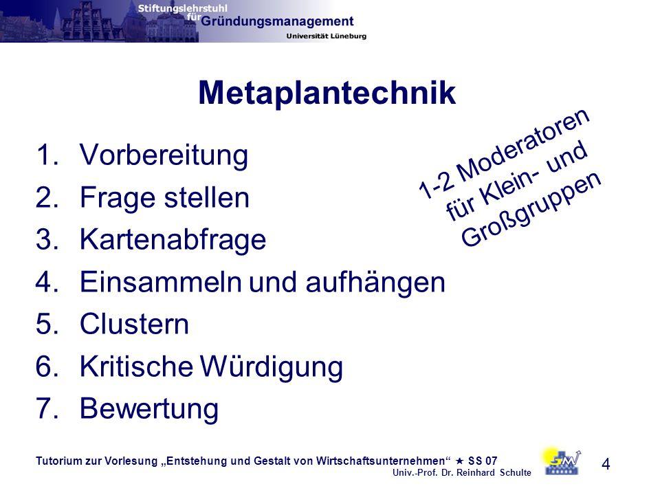 Tutorium zur Vorlesung Entstehung und Gestalt von Wirtschaftsunternehmen SS 07 Univ.-Prof. Dr. Reinhard Schulte 4 Metaplantechnik 1.Vorbereitung 2.Fra