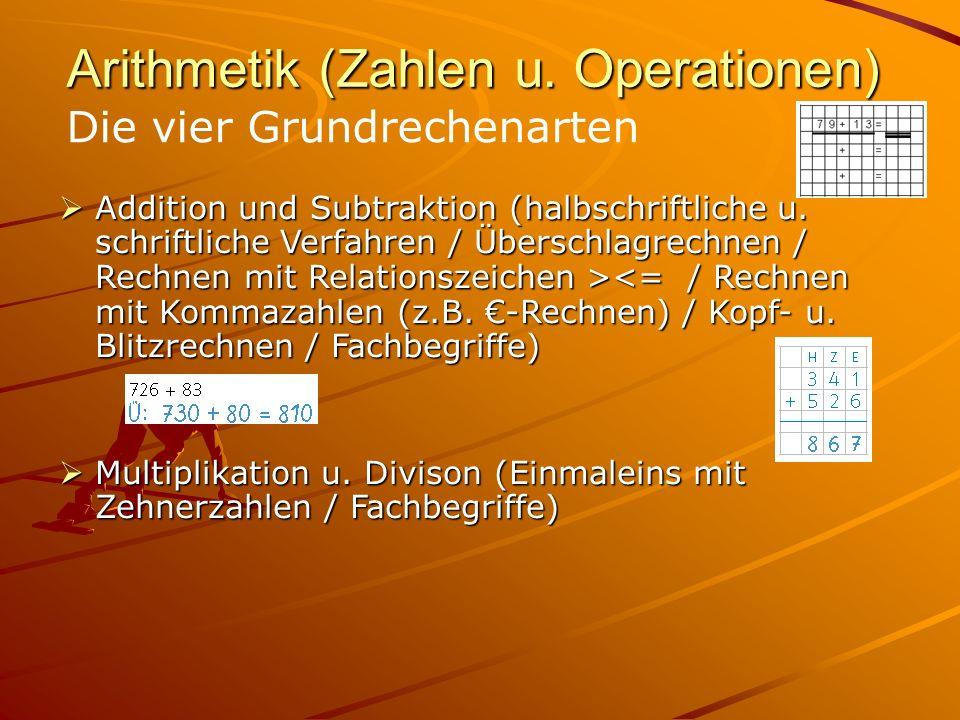 Arithmetik (Zahlen u. Operationen) Addition und Subtraktion (halbschriftliche u. schriftliche Verfahren / Überschlagrechnen / Rechnen mit Relationszei