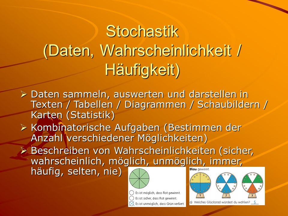 Stochastik (Daten, Wahrscheinlichkeit / Häufigkeit) Daten sammeln, auswerten und darstellen in Texten / Tabellen / Diagrammen / Schaubildern / Karten