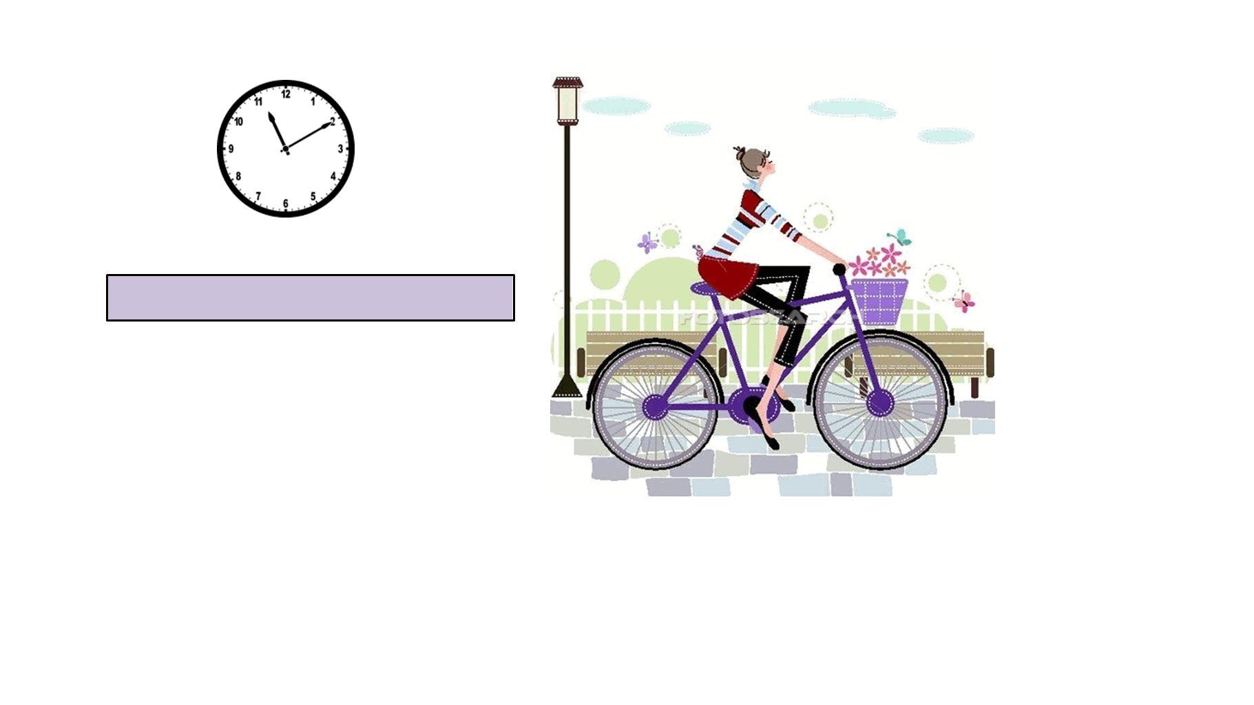 Sie fährt Rad um zehn nach elf.