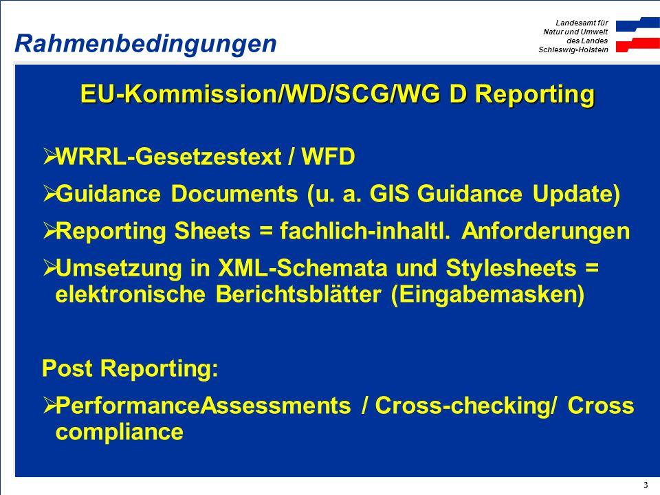 Landesamt für Natur und Umwelt des Landes Schleswig-Holstein 3 EU-Kommission/WD/SCG/WG D Reporting WRRL-Gesetzestext / WFD Guidance Documents (u. a. G