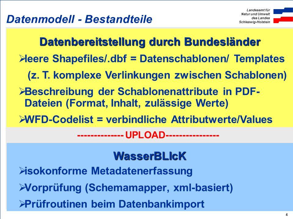 Landesamt für Natur und Umwelt des Landes Schleswig-Holstein 4 WasserBLIcK Datenbereitstellung durch Bundesländer Datenmodell - Bestandteile isokonforme Metadatenerfassung Vorprüfung (Schemamapper, xml-basiert) Prüfroutinen beim Datenbankimport -------------- UPLOAD---------------- leere Shapefiles/.dbf = Datenschablonen/ Templates (z.