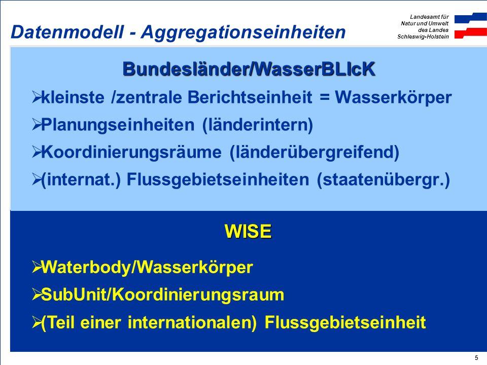 Landesamt für Natur und Umwelt des Landes Schleswig-Holstein 5 WISE Bundesländer/WasserBLIcK Datenmodell - Aggregationseinheiten kleinste /zentrale Berichtseinheit = Wasserkörper Planungseinheiten (länderintern) Koordinierungsräume (länderübergreifend) (internat.) Flussgebietseinheiten (staatenübergr.) Waterbody/Wasserkörper SubUnit/Koordinierungsraum (Teil einer internationalen) Flussgebietseinheit