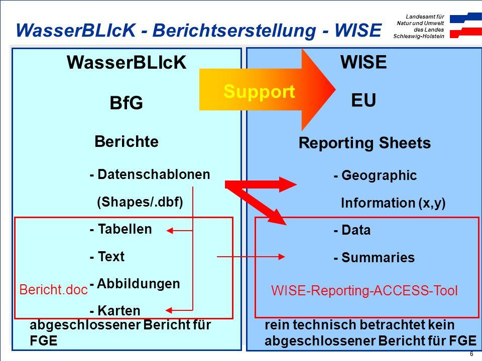 Landesamt für Natur und Umwelt des Landes Schleswig-Holstein 6 WasserBLIcK BfG Berichte - Datenschablonen (Shapes/.dbf) - Tabellen - Text - Abbildungen - Karten WISE EU Reporting Sheets - Geographic Information (x,y) - Data - Summaries WasserBLIcK - Berichtserstellung - WISE Support WISE-Reporting-ACCESS-Tool Bericht.doc abgeschlossener Bericht für FGE rein technisch betrachtet kein abgeschlossener Bericht für FGE