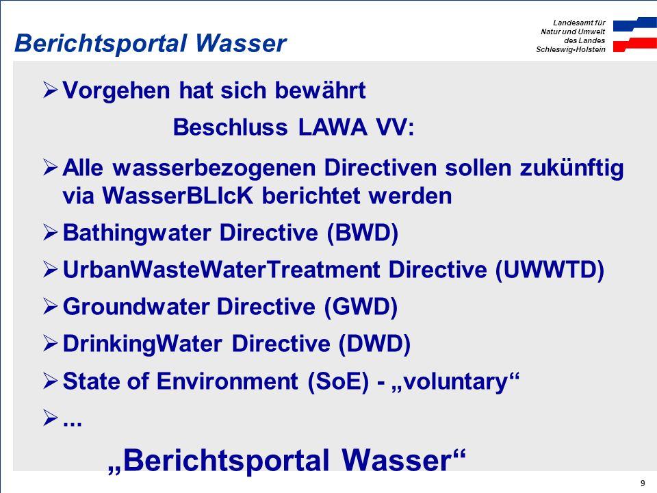 Landesamt für Natur und Umwelt des Landes Schleswig-Holstein 9 Berichtsportal Wasser Vorgehen hat sich bewährt Beschluss LAWA VV: Alle wasserbezogenen Directiven sollen zukünftig via WasserBLIcK berichtet werden Bathingwater Directive (BWD) UrbanWasteWaterTreatment Directive (UWWTD) Groundwater Directive (GWD) DrinkingWater Directive (DWD) State of Environment (SoE) - voluntary...