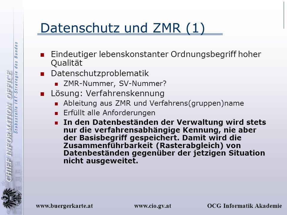 www.cio.gv.atOCG Informatik Akademiewww.buergerkarte.at Datenschutz und ZMR (1) Eindeutiger lebenskonstanter Ordnungsbegriff hoher Qualität Datenschut