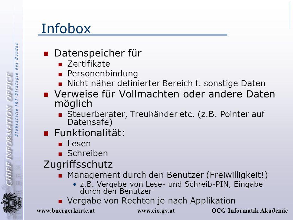 www.cio.gv.atOCG Informatik Akademiewww.buergerkarte.at Infobox Datenspeicher für Zertifikate Personenbindung Nicht näher definierter Bereich f. sonst