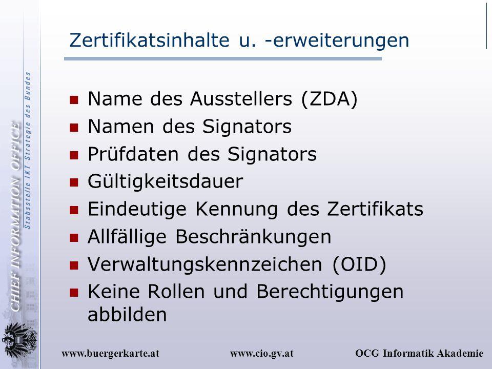 www.cio.gv.atOCG Informatik Akademiewww.buergerkarte.at Zertifikatsinhalte u. -erweiterungen Name des Ausstellers (ZDA) Namen des Signators Prüfdaten