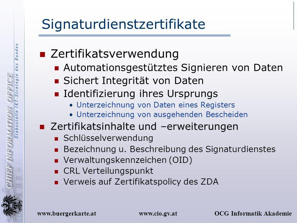 www.cio.gv.atOCG Informatik Akademiewww.buergerkarte.at Signaturdienstzertifikate Zertifikatsverwendung Automationsgestütztes Signieren von Daten Sich