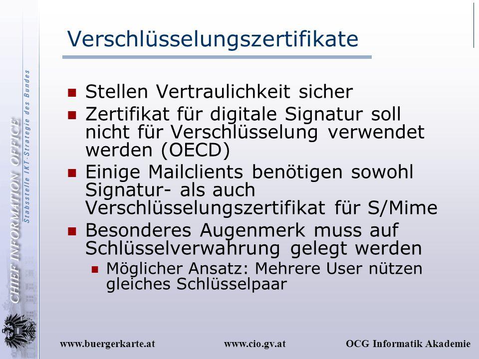www.cio.gv.atOCG Informatik Akademiewww.buergerkarte.at Verschlüsselungszertifikate Stellen Vertraulichkeit sicher Zertifikat für digitale Signatur so
