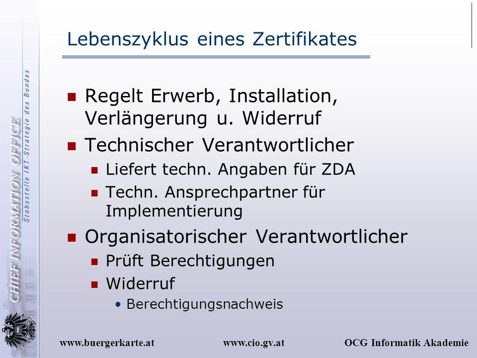 www.cio.gv.atOCG Informatik Akademiewww.buergerkarte.at Lebenszyklus eines Zertifikates Regelt Erwerb, Installation, Verlängerung u. Widerruf Technisc