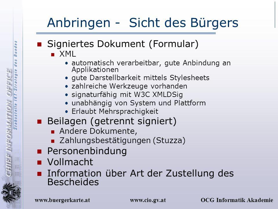www.cio.gv.atOCG Informatik Akademiewww.buergerkarte.at Anbringen - Sicht des Bürgers Signiertes Dokument (Formular) XML automatisch verarbeitbar, gut