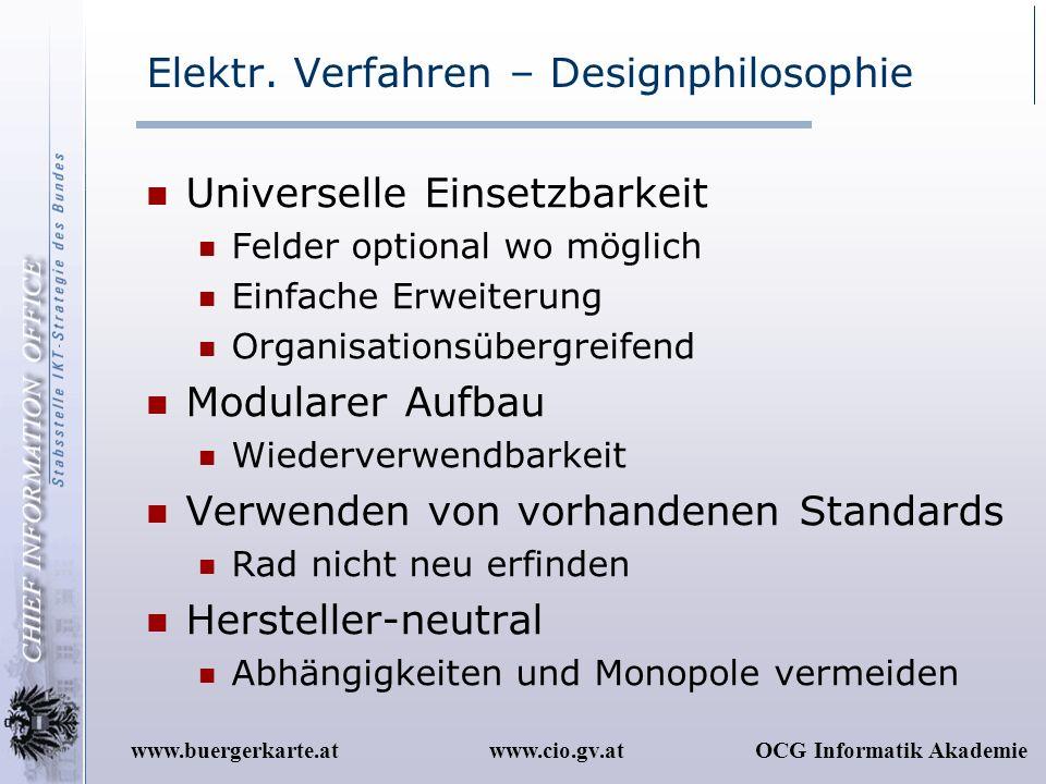 www.cio.gv.atOCG Informatik Akademiewww.buergerkarte.at Elektr. Verfahren – Designphilosophie Universelle Einsetzbarkeit Felder optional wo möglich Ei