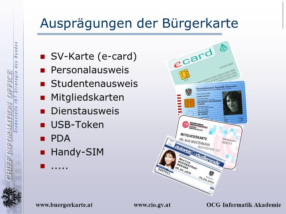 www.cio.gv.atOCG Informatik Akademiewww.buergerkarte.at Ausprägungen der Bürgerkarte SV-Karte (e-card) Personalausweis Studentenausweis Mitgliedskarte