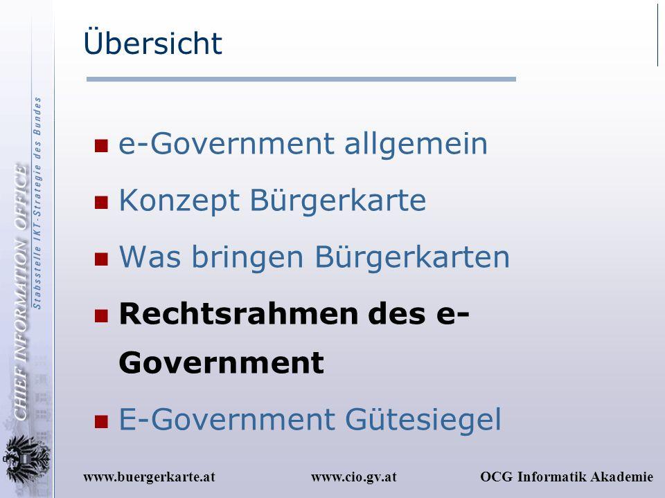 www.cio.gv.atOCG Informatik Akademiewww.buergerkarte.at Übersicht e-Government allgemein Konzept Bürgerkarte Was bringen Bürgerkarten Rechtsrahmen des