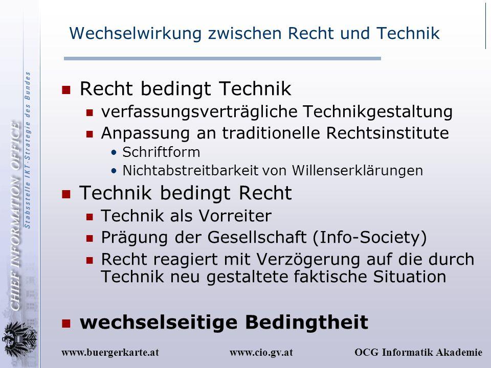 www.cio.gv.atOCG Informatik Akademiewww.buergerkarte.at Wechselwirkung zwischen Recht und Technik Recht bedingt Technik verfassungsverträgliche Techni
