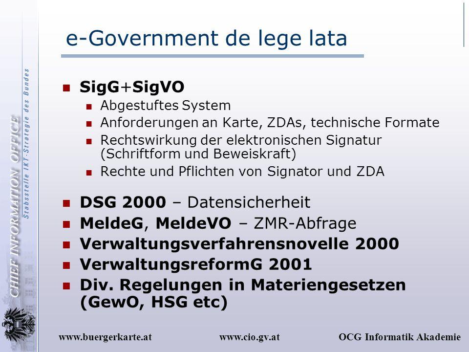 www.cio.gv.atOCG Informatik Akademiewww.buergerkarte.at e-Government de lege lata SigG+SigVO Abgestuftes System Anforderungen an Karte, ZDAs, technisc
