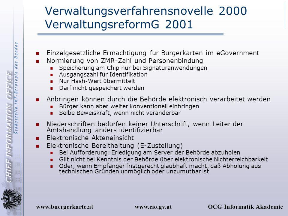 www.cio.gv.atOCG Informatik Akademiewww.buergerkarte.at Verwaltungsverfahrensnovelle 2000 VerwaltungsreformG 2001 Einzelgesetzliche Ermächtigung für B