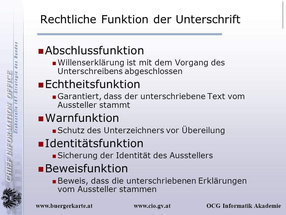 www.cio.gv.atOCG Informatik Akademiewww.buergerkarte.at Rechtliche Funktion der Unterschrift Abschlussfunktion Willenserklärung ist mit dem Vorgang de