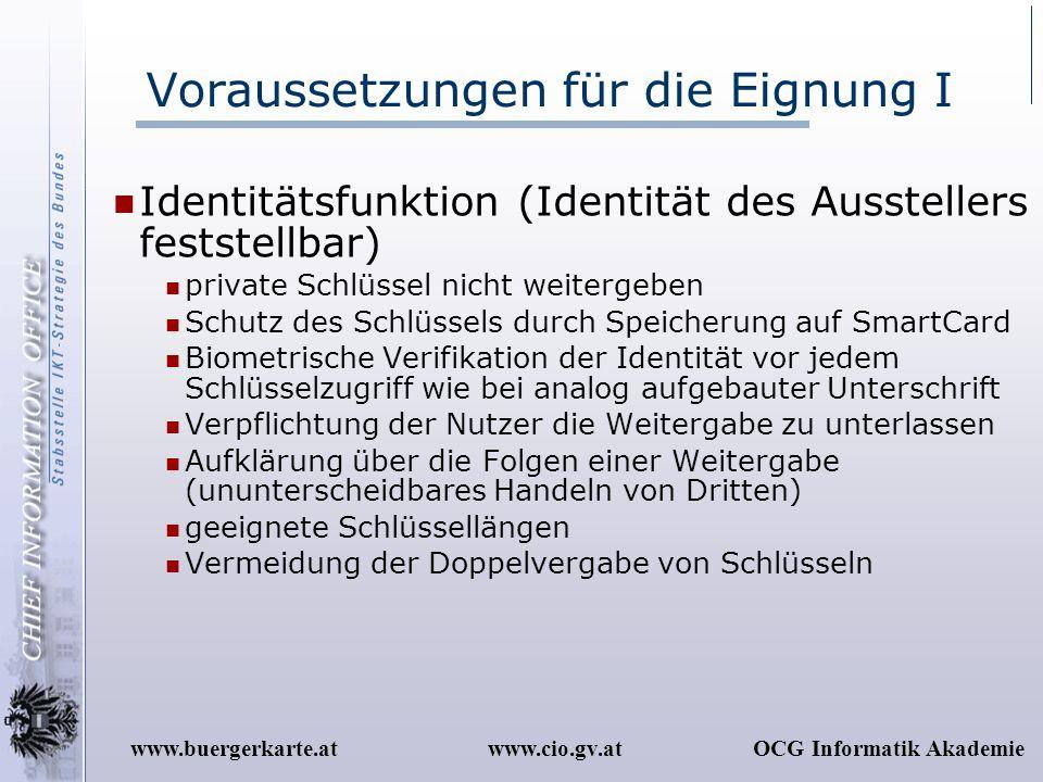 www.cio.gv.atOCG Informatik Akademiewww.buergerkarte.at Voraussetzungen für die Eignung I Identitätsfunktion (Identität des Ausstellers feststellbar)