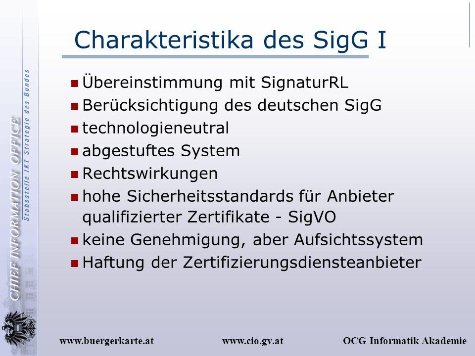 www.cio.gv.atOCG Informatik Akademiewww.buergerkarte.at Charakteristika des SigG I Übereinstimmung mit SignaturRL Berücksichtigung des deutschen SigG