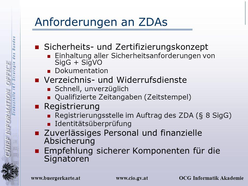 www.cio.gv.atOCG Informatik Akademiewww.buergerkarte.at Anforderungen an ZDAs Sicherheits- und Zertifizierungskonzept Einhaltung aller Sicherheitsanfo
