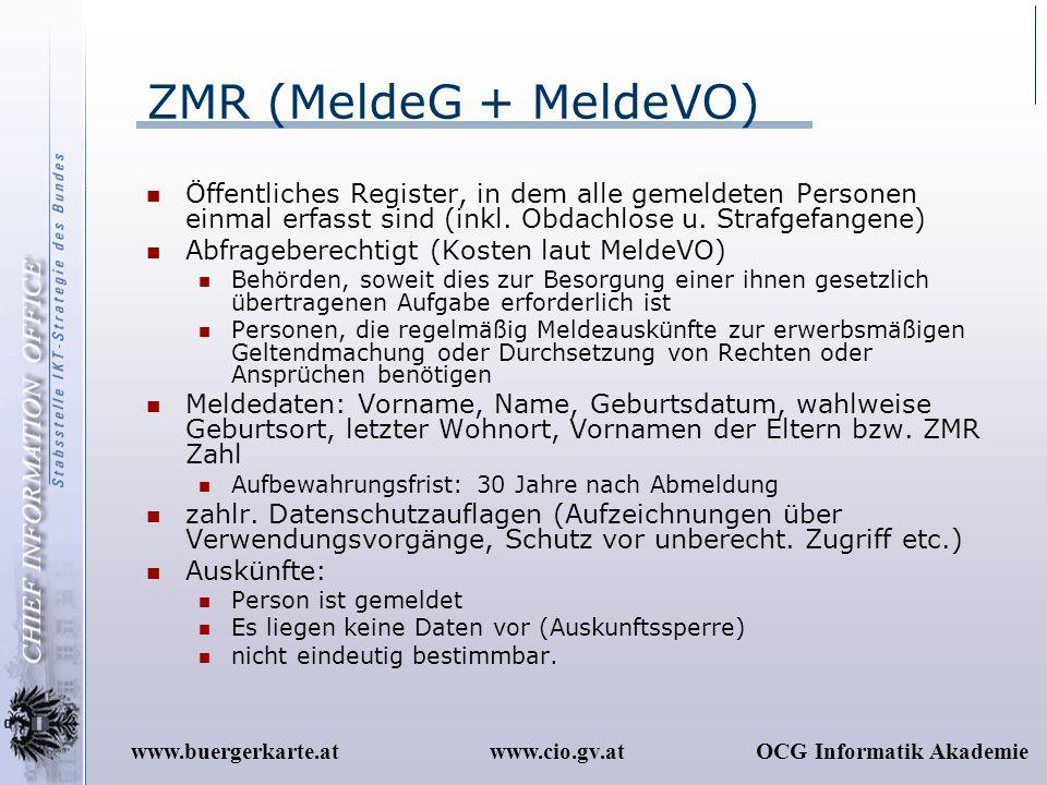 www.cio.gv.atOCG Informatik Akademiewww.buergerkarte.at ZMR (MeldeG + MeldeVO) Öffentliches Register, in dem alle gemeldeten Personen einmal erfasst s