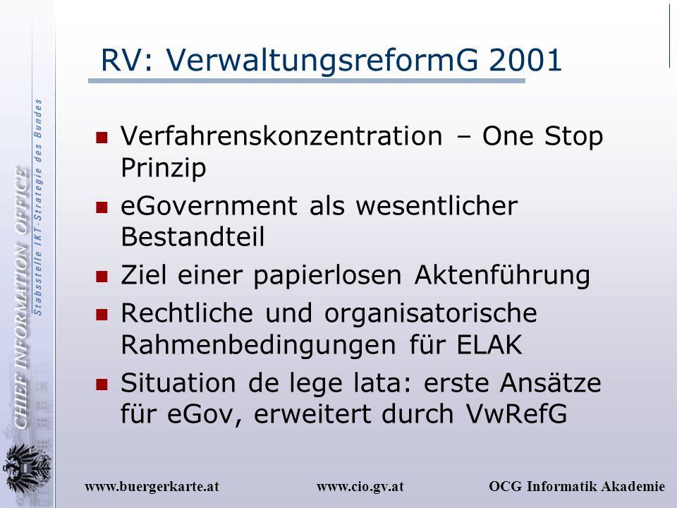 www.cio.gv.atOCG Informatik Akademiewww.buergerkarte.at RV: VerwaltungsreformG 2001 Verfahrenskonzentration – One Stop Prinzip eGovernment als wesentl