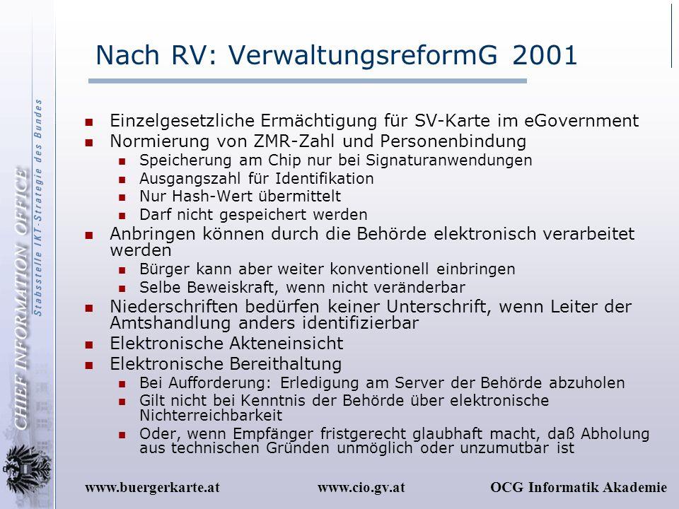 www.cio.gv.atOCG Informatik Akademiewww.buergerkarte.at Nach RV: VerwaltungsreformG 2001 Einzelgesetzliche Ermächtigung für SV-Karte im eGovernment No