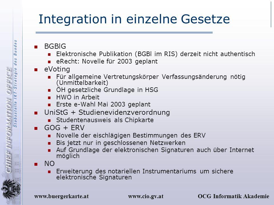 www.cio.gv.atOCG Informatik Akademiewww.buergerkarte.at Integration in einzelne Gesetze BGBlG Elektronische Publikation (BGBl im RIS) derzeit nicht au