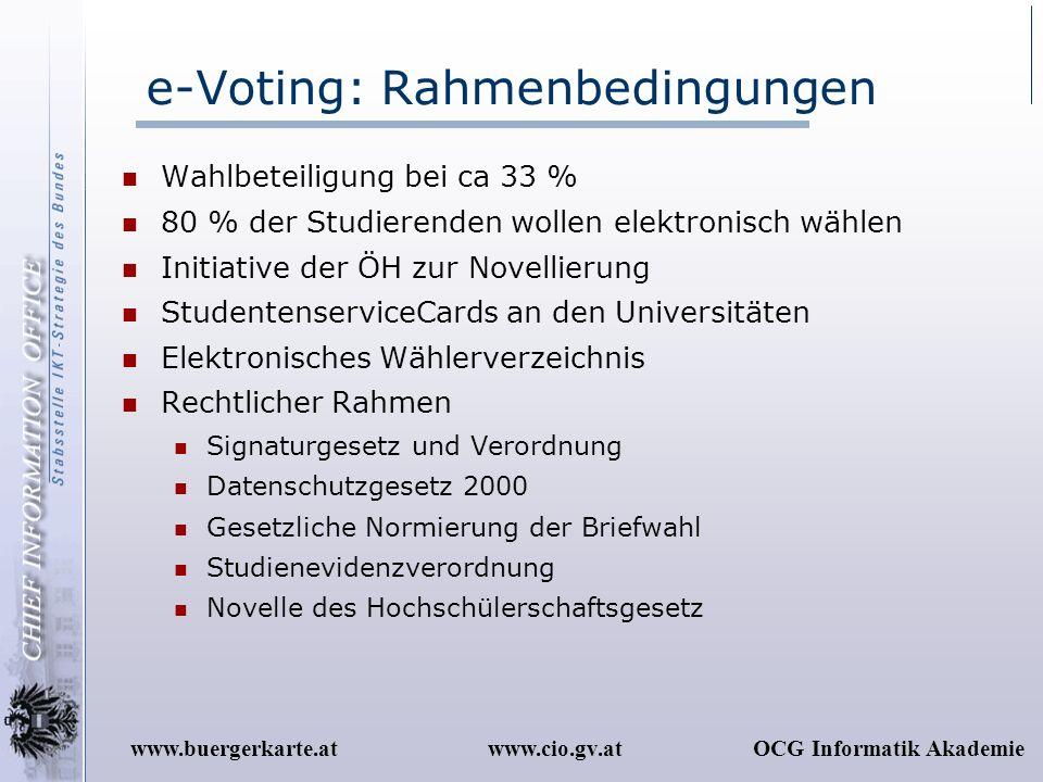 www.cio.gv.atOCG Informatik Akademiewww.buergerkarte.at e-Voting: Rahmenbedingungen Wahlbeteiligung bei ca 33 % 80 % der Studierenden wollen elektroni