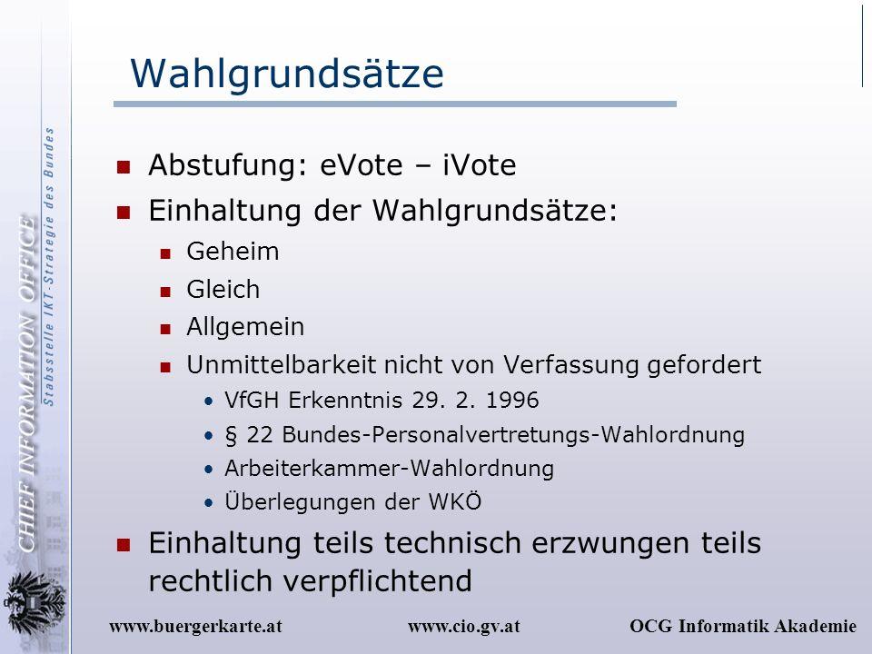 www.cio.gv.atOCG Informatik Akademiewww.buergerkarte.at Wahlgrundsätze Abstufung: eVote – iVote Einhaltung der Wahlgrundsätze: Geheim Gleich Allgemein
