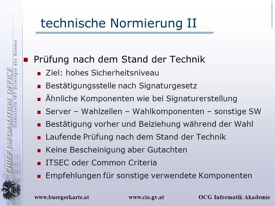 www.cio.gv.atOCG Informatik Akademiewww.buergerkarte.at technische Normierung II Prüfung nach dem Stand der Technik Ziel: hohes Sicherheitsniveau Best