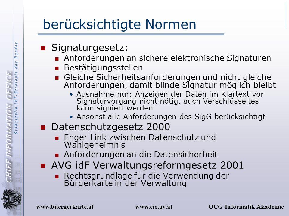 www.cio.gv.atOCG Informatik Akademiewww.buergerkarte.at berücksichtigte Normen Signaturgesetz: Anforderungen an sichere elektronische Signaturen Bestä
