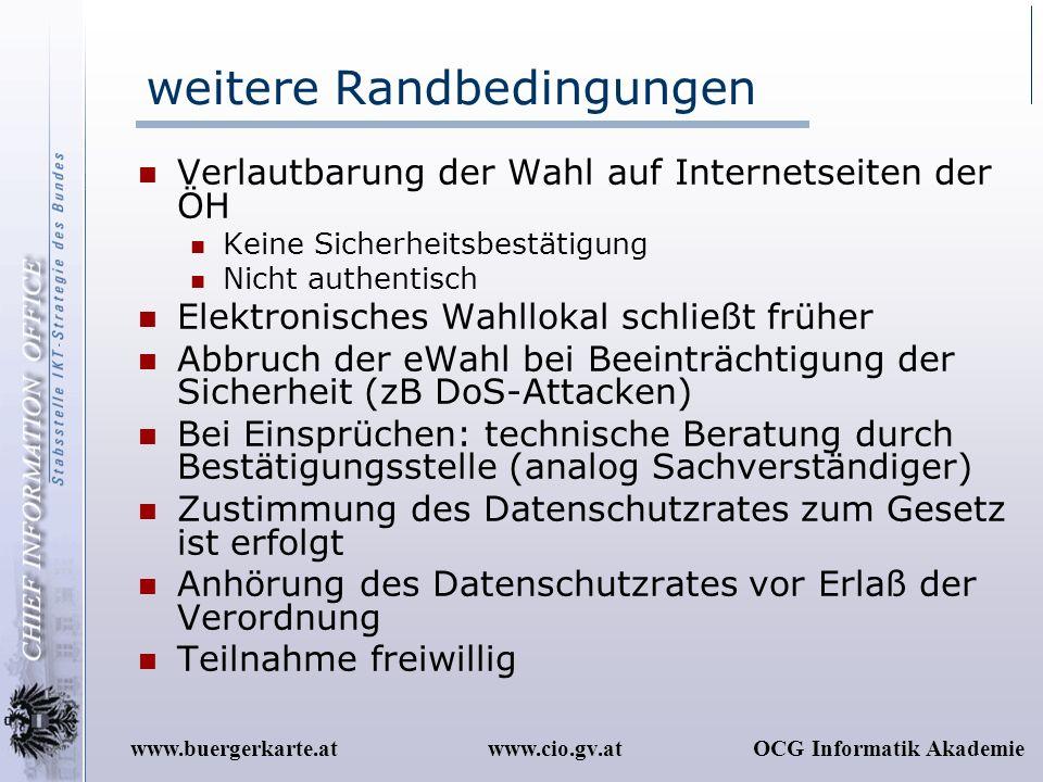 www.cio.gv.atOCG Informatik Akademiewww.buergerkarte.at weitere Randbedingungen Verlautbarung der Wahl auf Internetseiten der ÖH Keine Sicherheitsbest