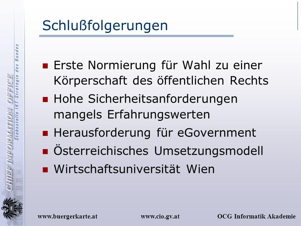 www.cio.gv.atOCG Informatik Akademiewww.buergerkarte.at Schlußfolgerungen Erste Normierung für Wahl zu einer Körperschaft des öffentlichen Rechts Hohe
