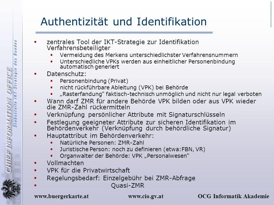 www.cio.gv.atOCG Informatik Akademiewww.buergerkarte.at Authentizität und Identifikation zentrales Tool der IKT-Strategie zur Identifikation Verfahren