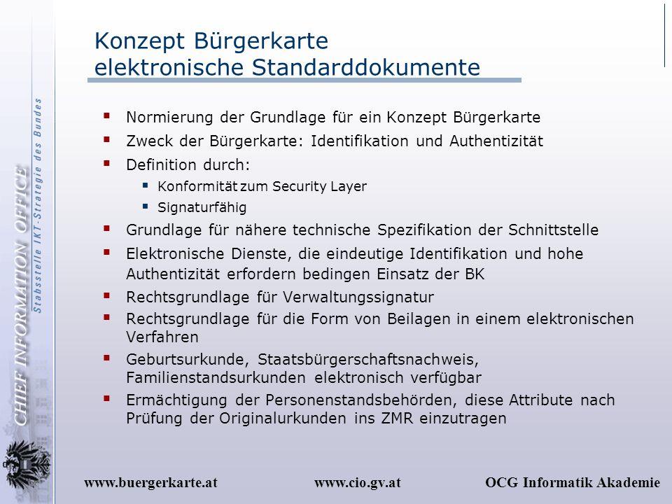 www.cio.gv.atOCG Informatik Akademiewww.buergerkarte.at Konzept Bürgerkarte elektronische Standarddokumente Normierung der Grundlage für ein Konzept B