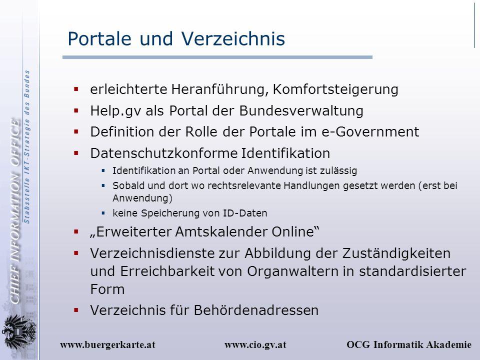 www.cio.gv.atOCG Informatik Akademiewww.buergerkarte.at Portale und Verzeichnis erleichterte Heranführung, Komfortsteigerung Help.gv als Portal der Bu