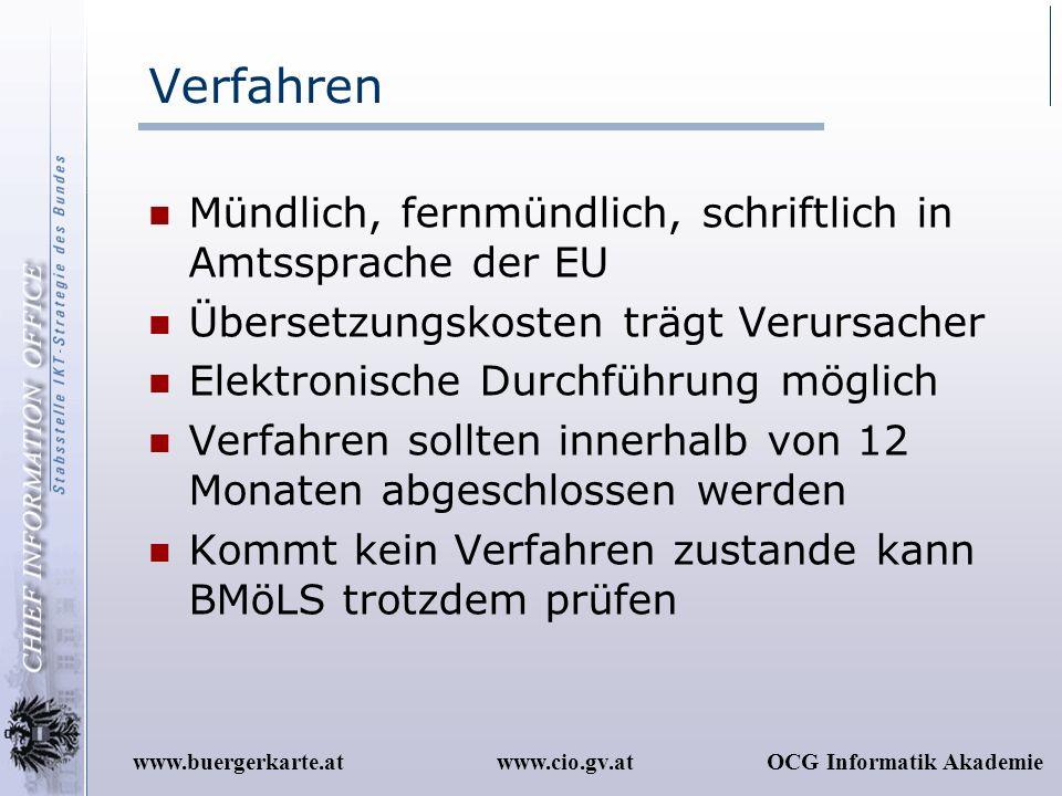 www.cio.gv.atOCG Informatik Akademiewww.buergerkarte.at Verfahren Mündlich, fernmündlich, schriftlich in Amtssprache der EU Übersetzungskosten trägt V