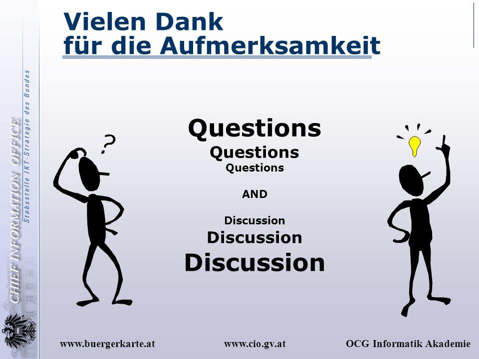 www.cio.gv.atOCG Informatik Akademiewww.buergerkarte.at Vielen Dank für die Aufmerksamkeit Questions AND Discussion