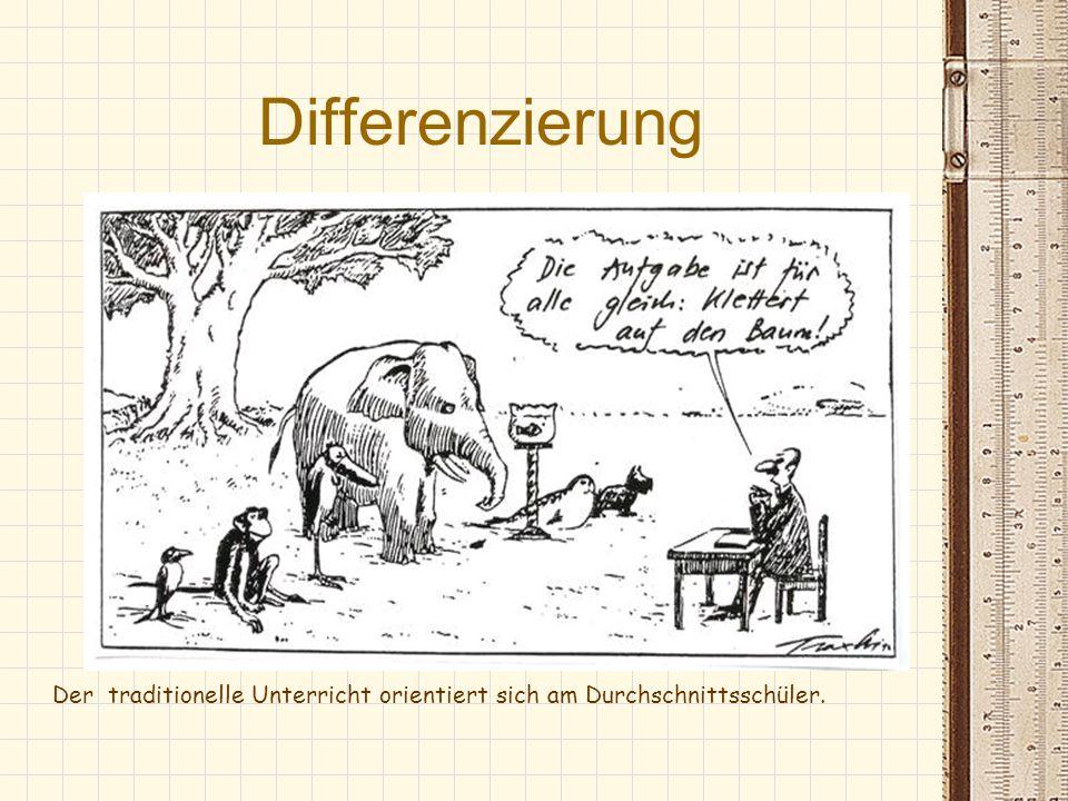 Differenzierung Der traditionelle Unterricht orientiert sich am Durchschnittsschüler.