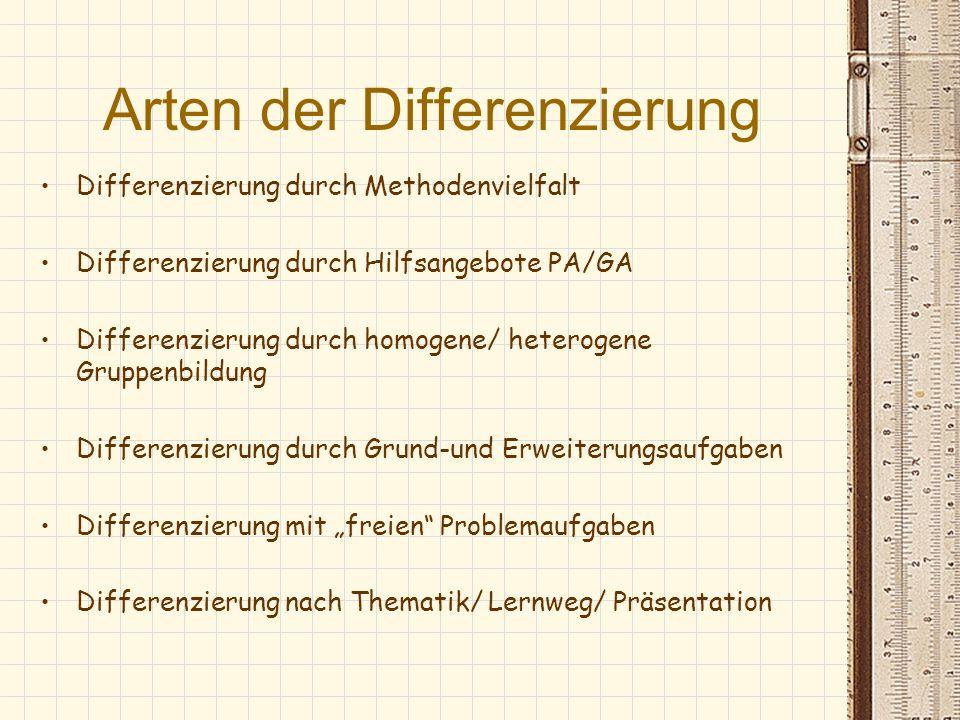 Arten der Differenzierung Differenzierung durch Methodenvielfalt Differenzierung durch Hilfsangebote PA/GA Differenzierung durch homogene/ heterogene