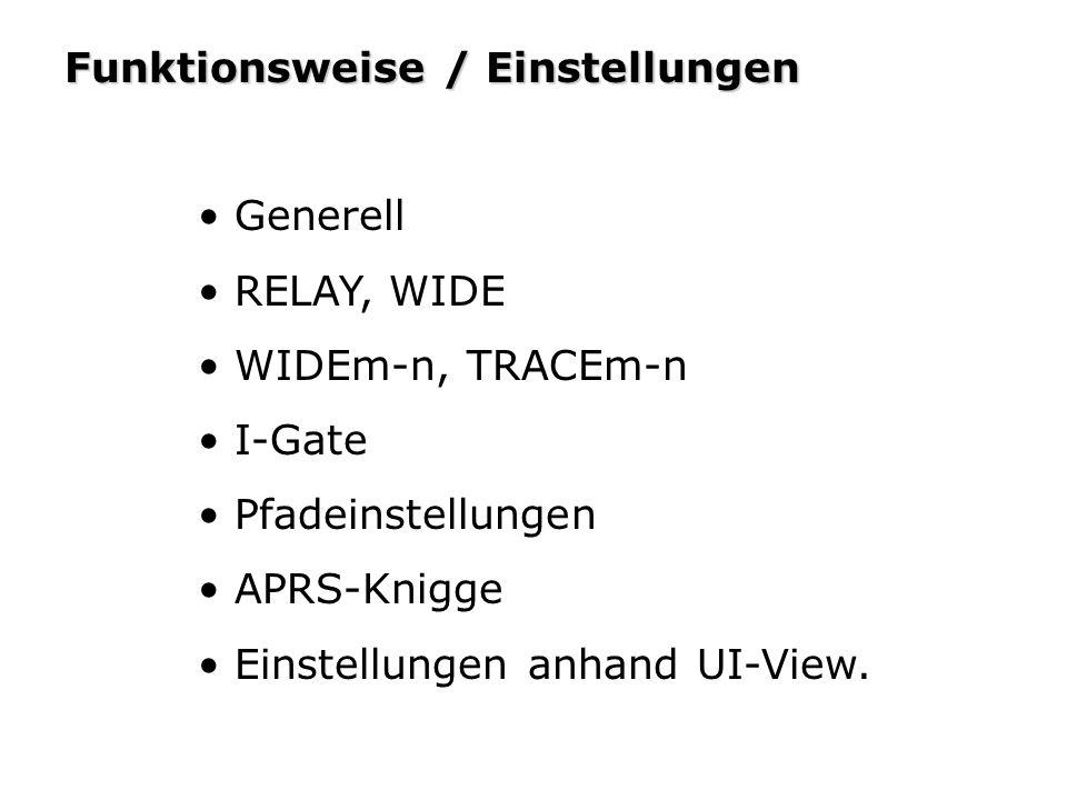 Funktionsweise / Einstellungen Generell RELAY, WIDE WIDEm-n, TRACEm-n I-Gate Pfadeinstellungen APRS-Knigge Einstellungen anhand UI-View.