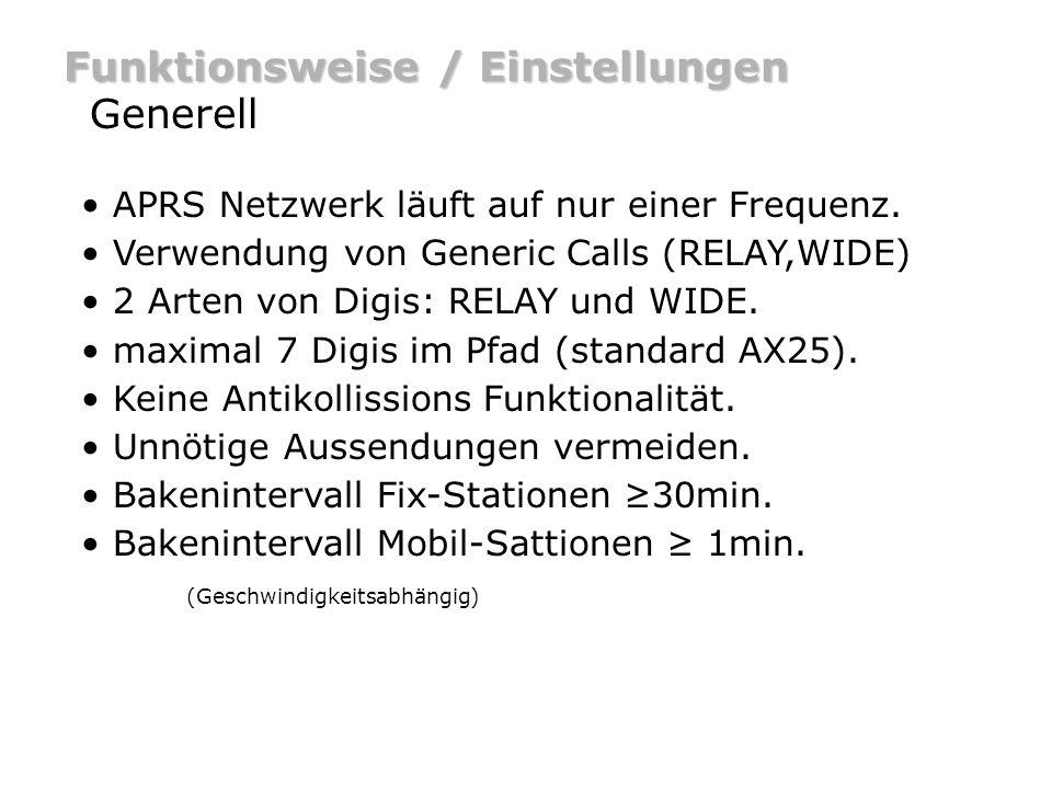 Funktionsweise / Einstellungen Generell APRS Netzwerk läuft auf nur einer Frequenz. Verwendung von Generic Calls (RELAY,WIDE) 2 Arten von Digis: RELAY