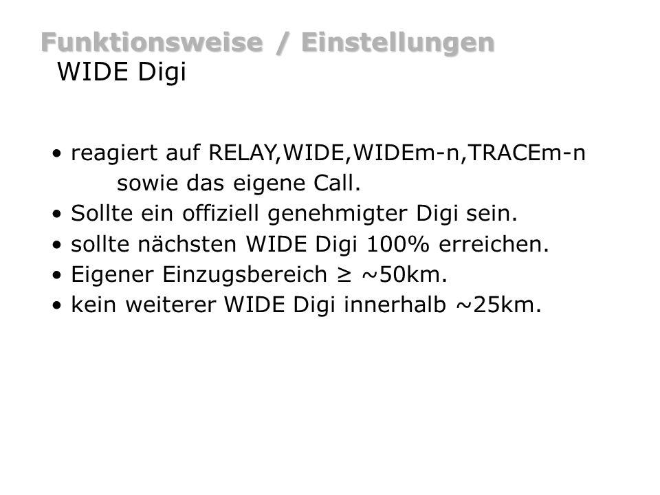 Funktionsweise / Einstellungen WIDE Digi reagiert auf RELAY,WIDE,WIDEm-n,TRACEm-n sowie das eigene Call. Sollte ein offiziell genehmigter Digi sein. s