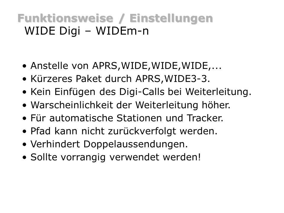Funktionsweise / Einstellungen WIDE Digi – WIDEm-n Anstelle von APRS,WIDE,WIDE,WIDE,... Kürzeres Paket durch APRS,WIDE3-3. Kein Einfügen des Digi-Call